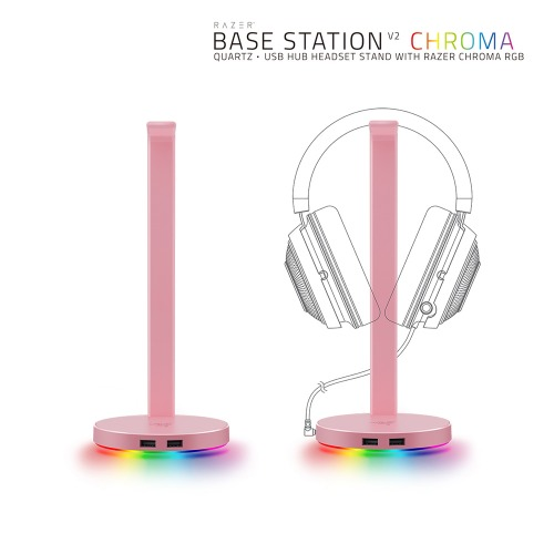 Razer Base Station Chroma V2 Quartz 헤드셋 거치대